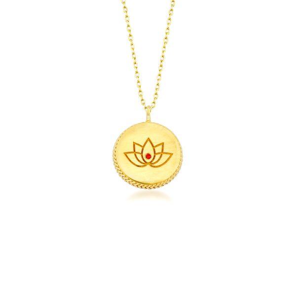 Lotus çiçek kolye gold