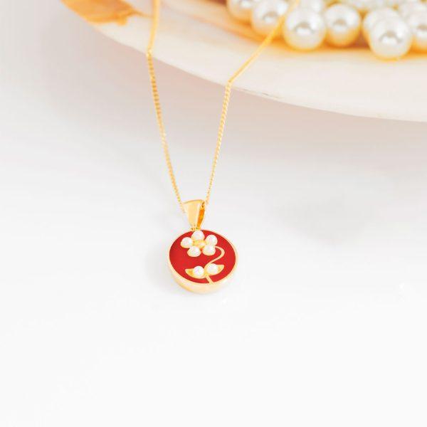 pearl-daisy-kırmızı-kolye