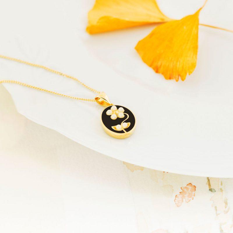 pearl-daisy-siyah kolye